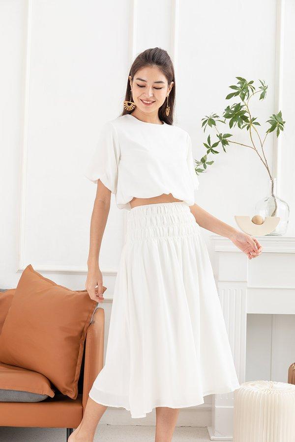 Something Smocked Swing Midi Skirt White