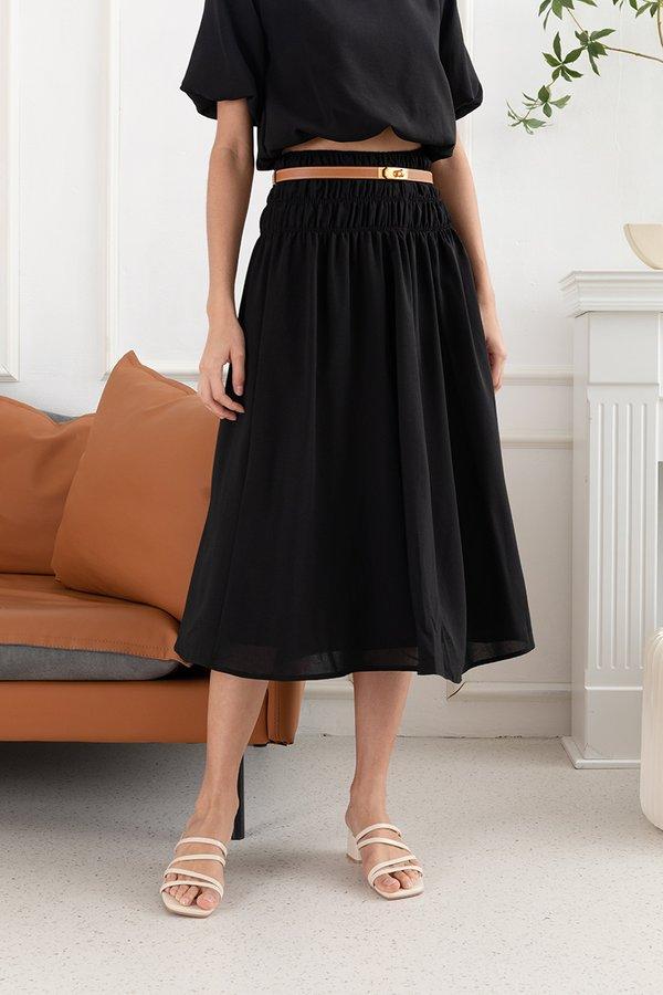 Something Smocked Swing Midi Skirt Black