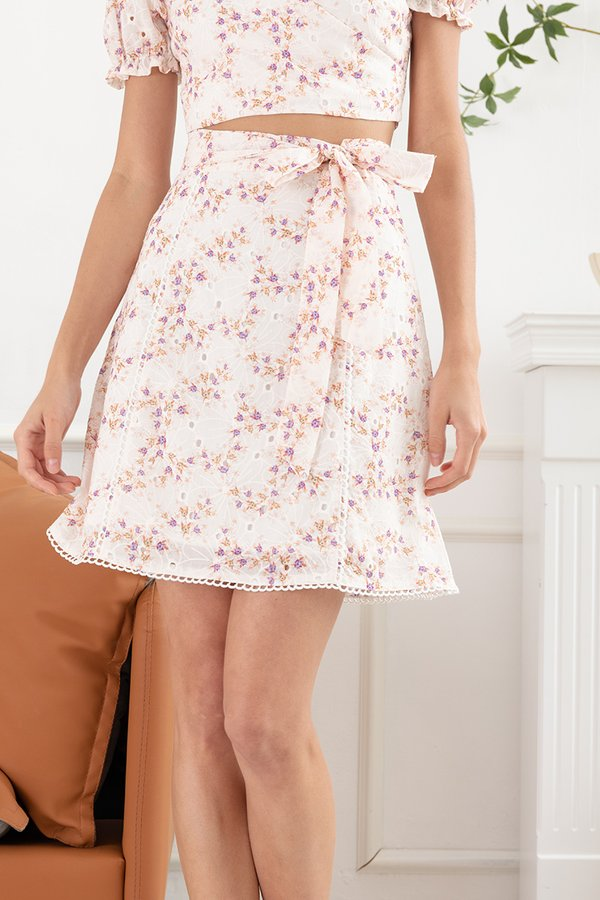 Flowerbeds of Whimsy Wrap Tie Two Piece Set Pink