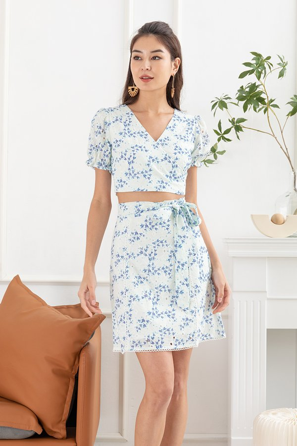 Flowerbeds of Whimsy Wrap Tie Two Piece Set Blue