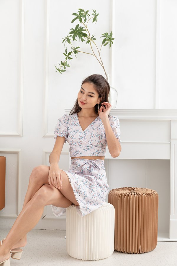 Flowerbeds of Whimsy Wrap Tie Two Piece Set Lilac