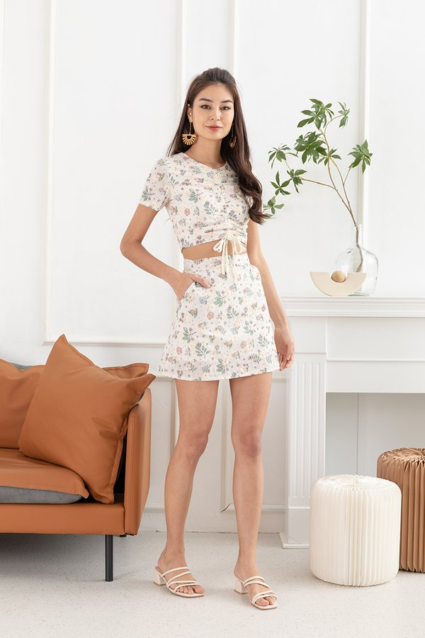 Sweet Summer Reminders Scrunched Floral Two Piece Set Cream