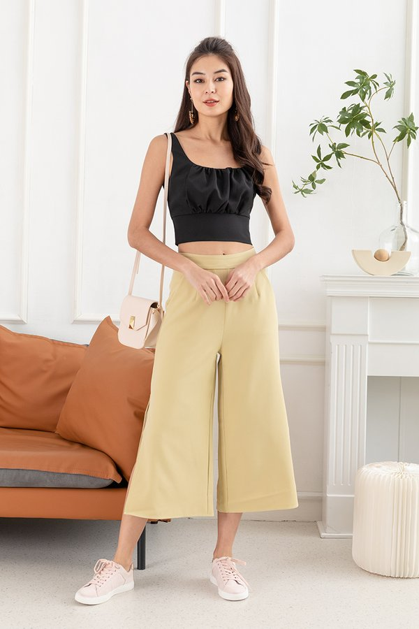 Sports Tailoring Shirred Bust Crop Top Black