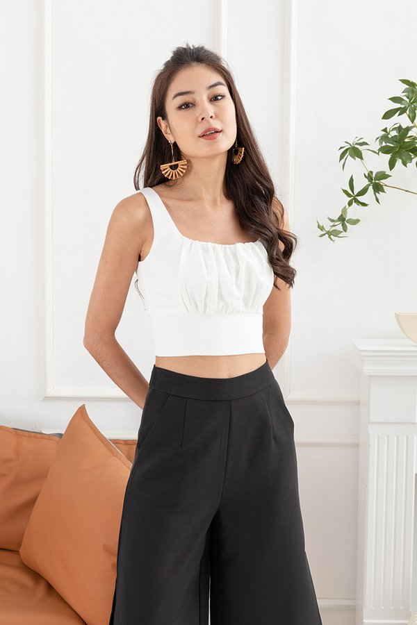 Sports Tailoring Shirred Bust Crop Top White