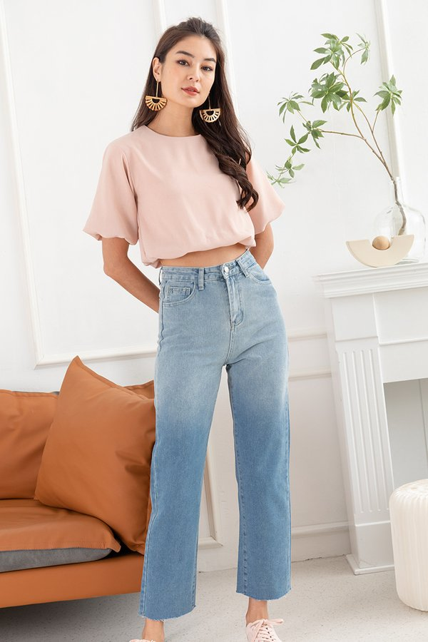 Bubbly Personality Balloon Crop Top Nude Pink