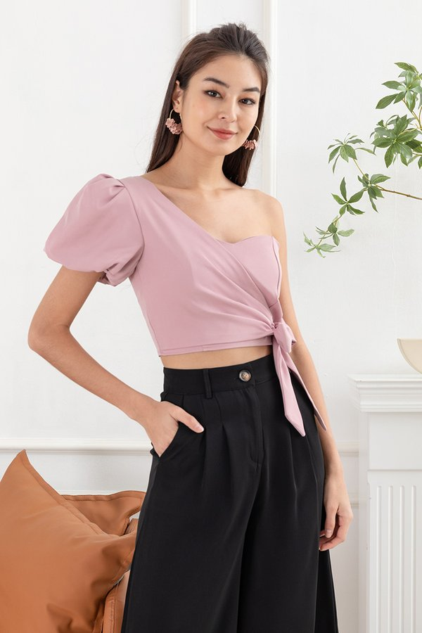 One Sided Perfection Tie Waist Toga Top Pink