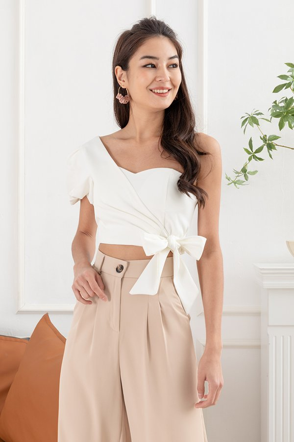 One Sided Perfection Tie Waist Toga Top White