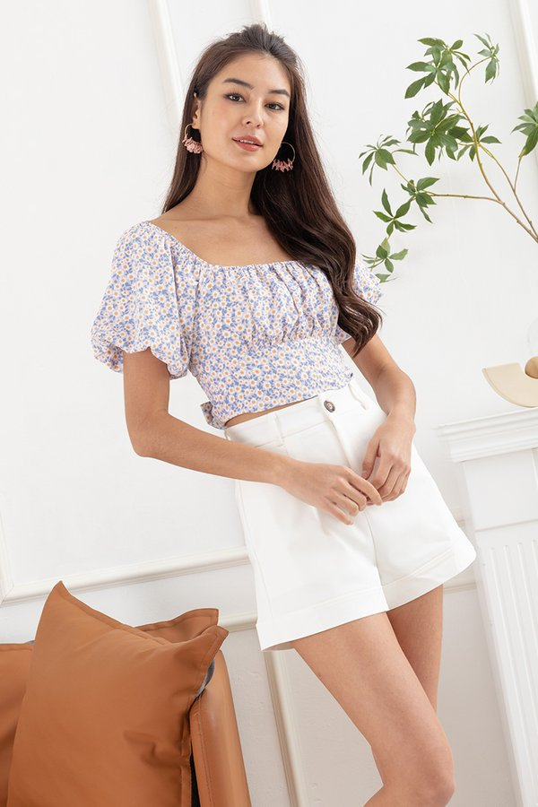 Sunflowers Shirred Soiree Tie Back Crop Top Lilac
