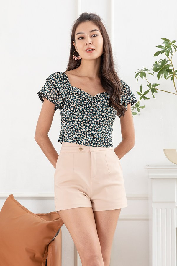 A Twist of Floral Ruch Knot Top Black
