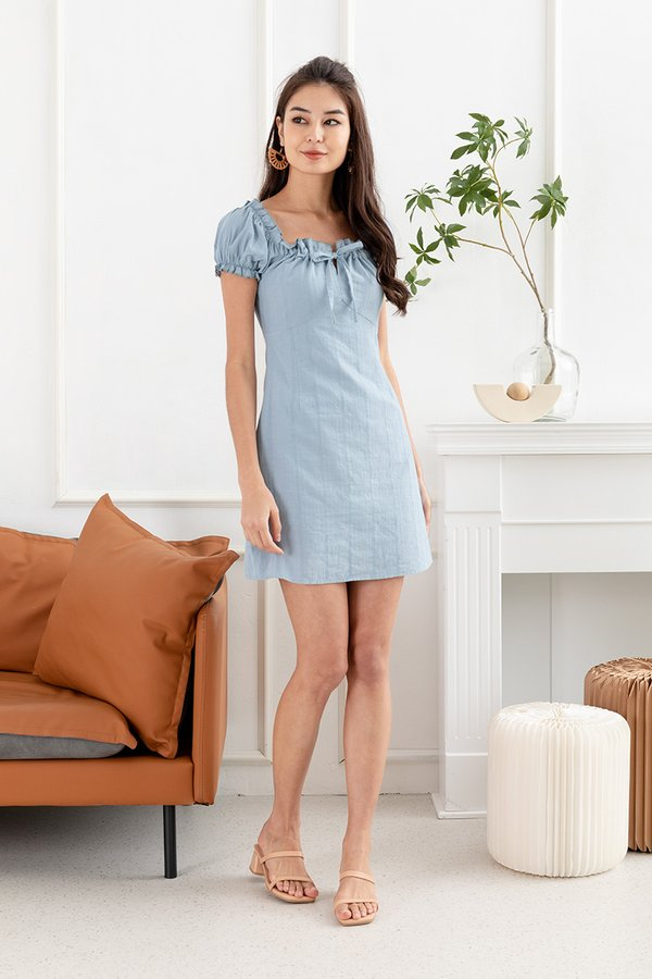 Linen Towards Perfection Broderie Milkmaid Dress Blue
