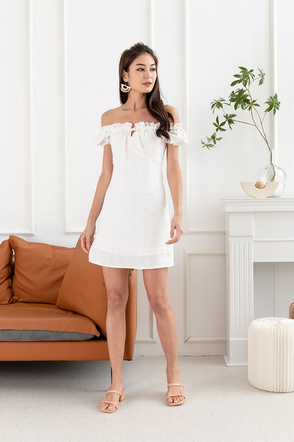 Linen Towards Perfection Broderie Milkmaid Dress White