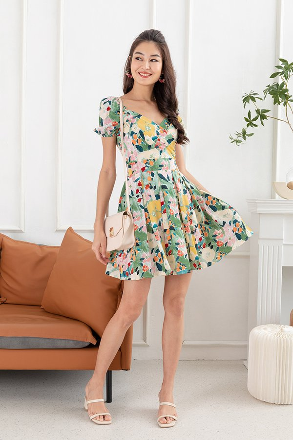 Nature Landscapes Pleated Floral Dress Green