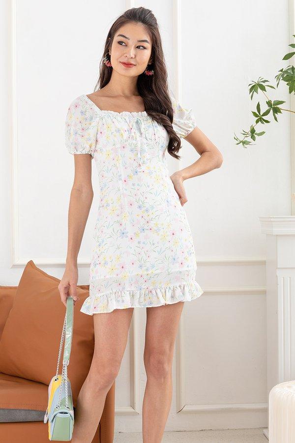 Peak Pastels Petals Shirred Milkmaid Dress