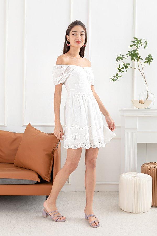 Lacing Down the Aisle Eyelet Dress White