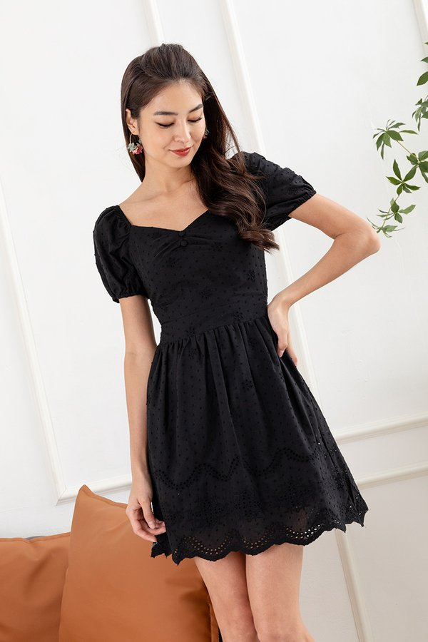 Lacing Down the Aisle Eyelet Dress Black