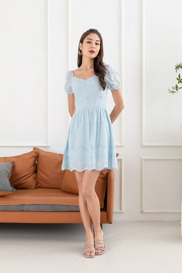 Lacing Down the Aisle Eyelet Dress Pale Blue