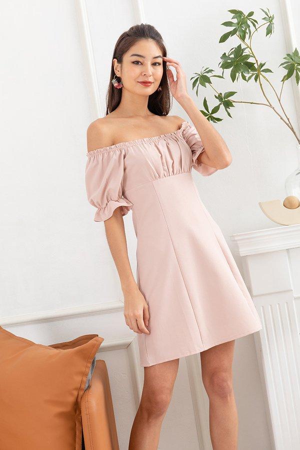 Wishes under the Windowsill Ruched Milkmaid Dress Blush Pink