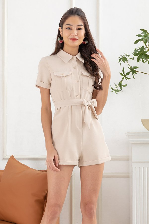 In Unity with Utility Romper Almond