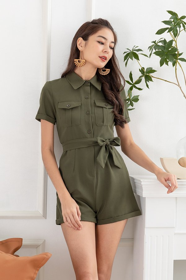 In Unity with Utility Romper Olive Green