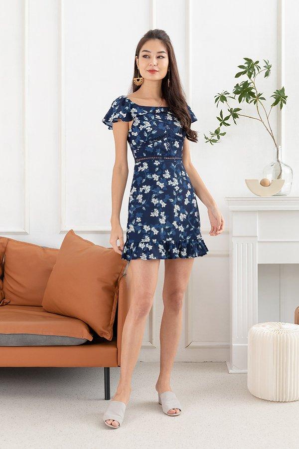 Grazing Flower Fields Ruffle Dropwaist Dress Navy Blue