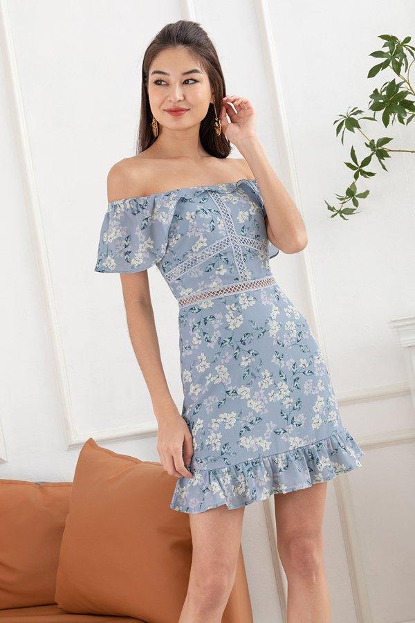 Grazing Flower Fields Ruffle Dropwaist Dress Blue Grey