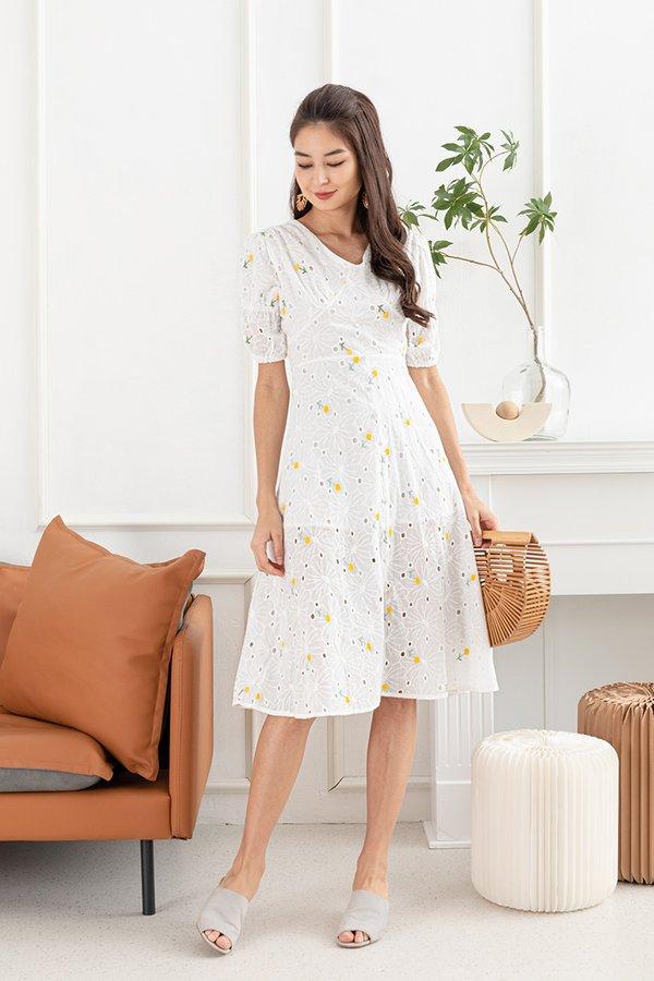 Buttercups Button Trails Embroidery Midi Dress