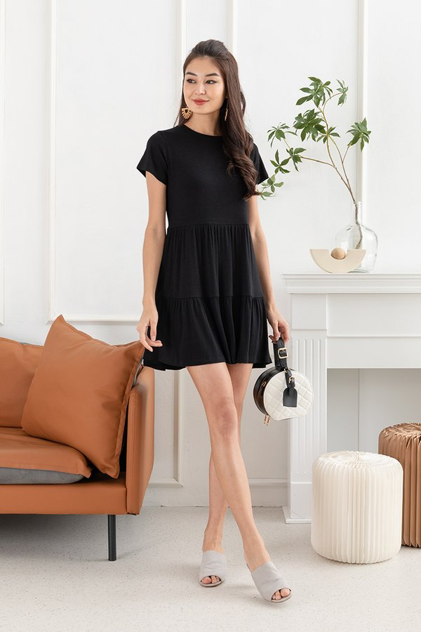 Three Cheers For Tiers Babydoll Dress Black