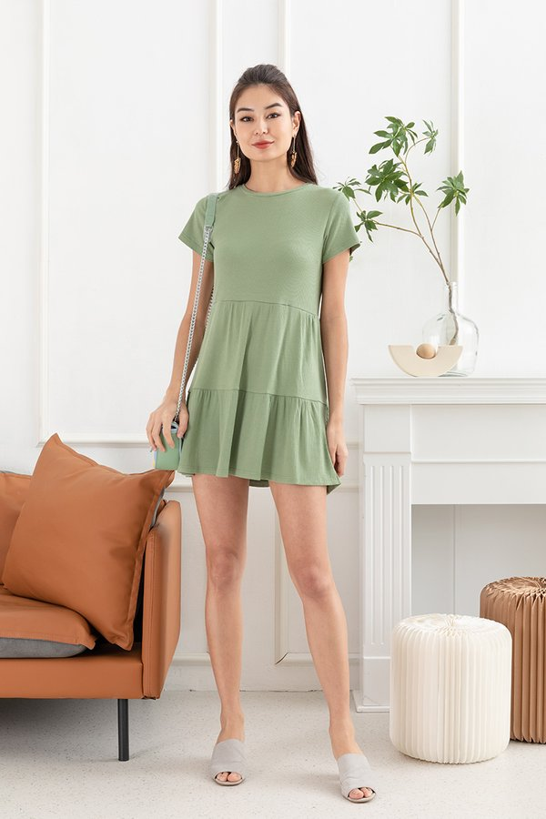 Three Cheers For Tiers Babydoll Dress Sage Green