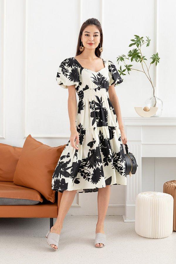 Mono Floral Dreams Alight Smocked Midi Dress