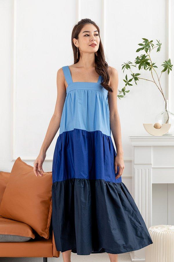 Building Blocks For Blues Tier Maxi Dress
