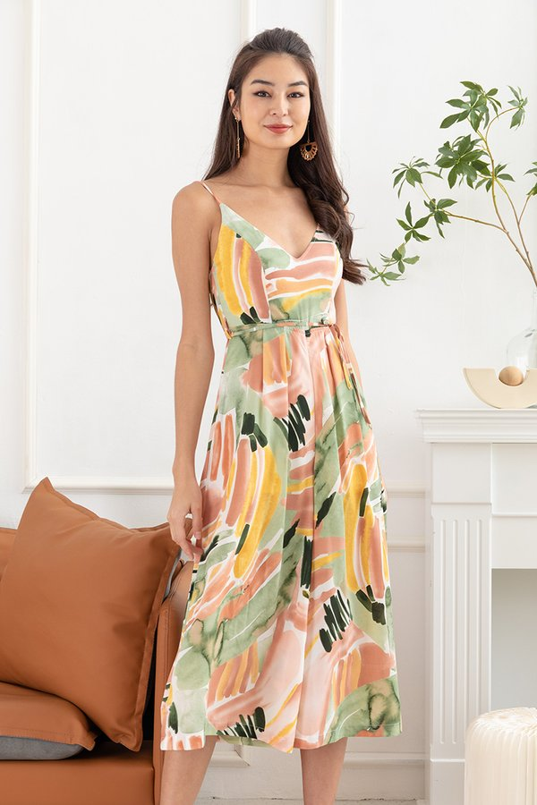 Tropical Blend Abstracts Printed Jumpsuit