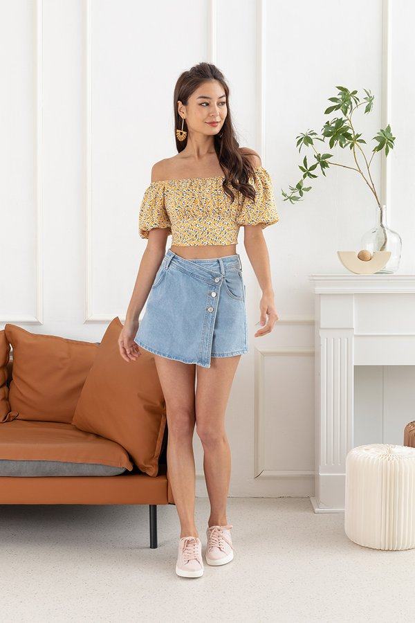 Sunflowers Shirred Soiree Tie Back Crop Top White