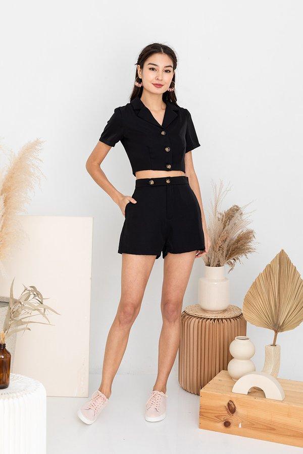Simple Linings Playbook Blazer Shorts Suit Set Black