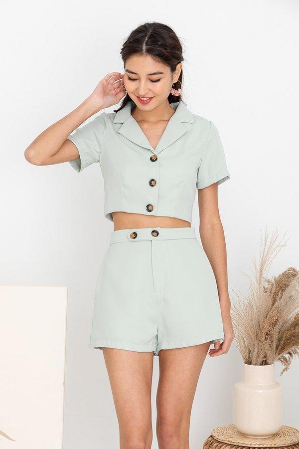 Simple Linings Playbook Blazer Shorts Suit Set Jade Mist