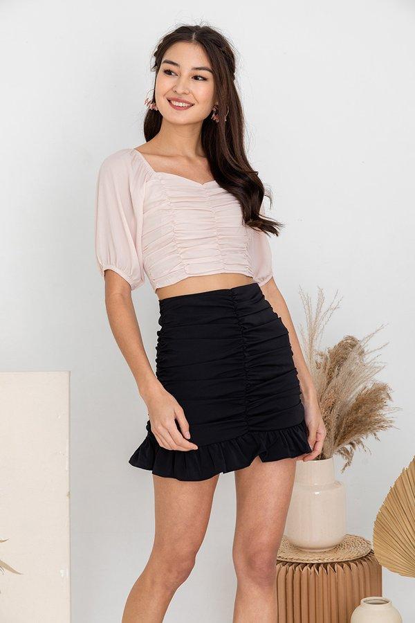 Spun in Stirring Shirs Skirt Black
