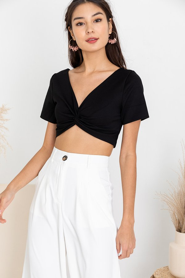 A Wrinkle in Time Knot Crop Top Black