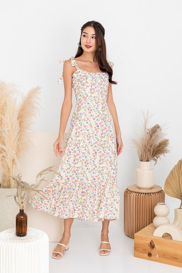 Blooming Bustier Dropwaist Midi Dress Lilac Pink
