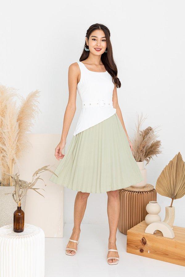 Pleats Peeking Duo Colourblock Dress White