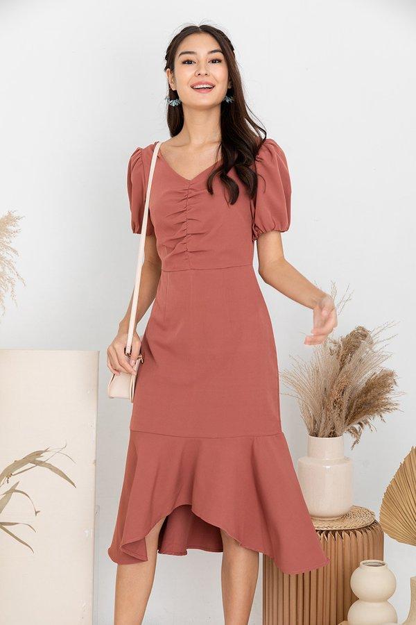 Frontrunner to Fishtail Hem Midi Dress Tea Rose