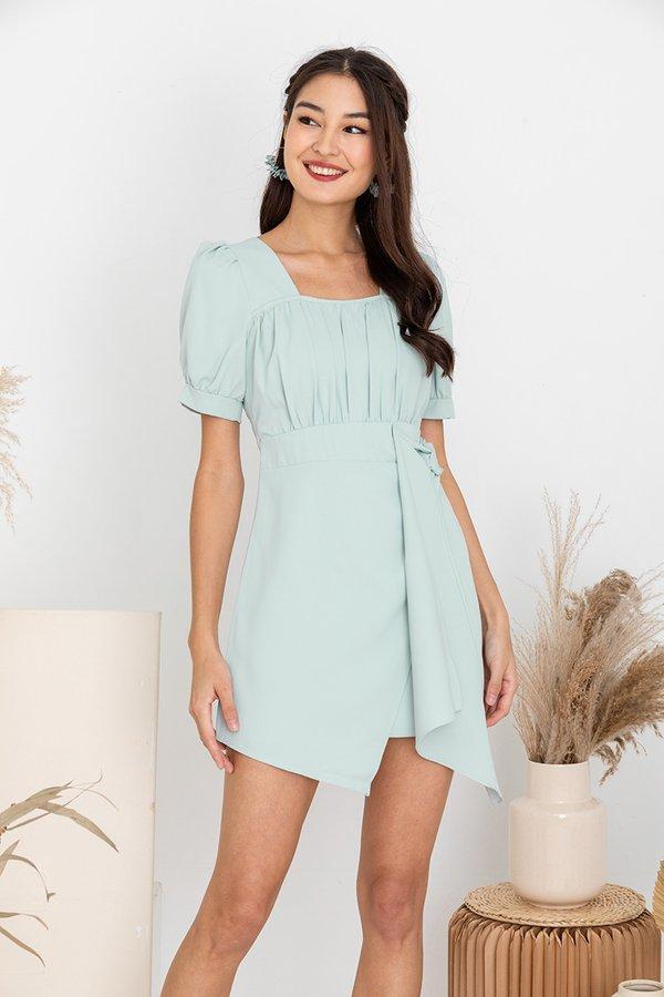 Cascading Shirs Drape Tie Dress Jade Mist