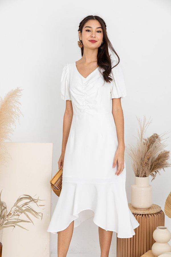 Frontrunner to Fishtail Hem Midi Dress White