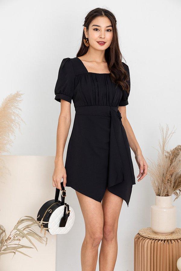 Cascading Shirs Drape Tie Dress Black
