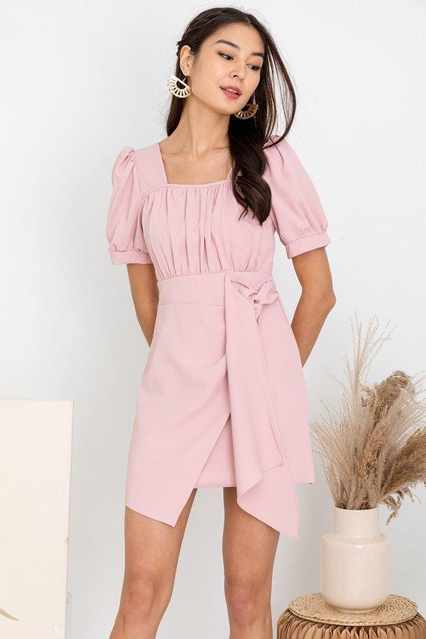 Cascading Shirs Drape Tie Dress Pink
