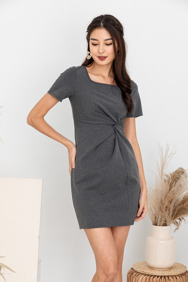 Knotted Rapport Tee Dress Ash Grey