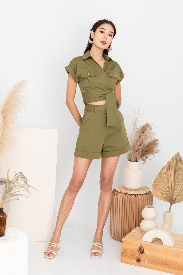 Rapturous Utility Wrap Two Piece Shorts Set Olive Green