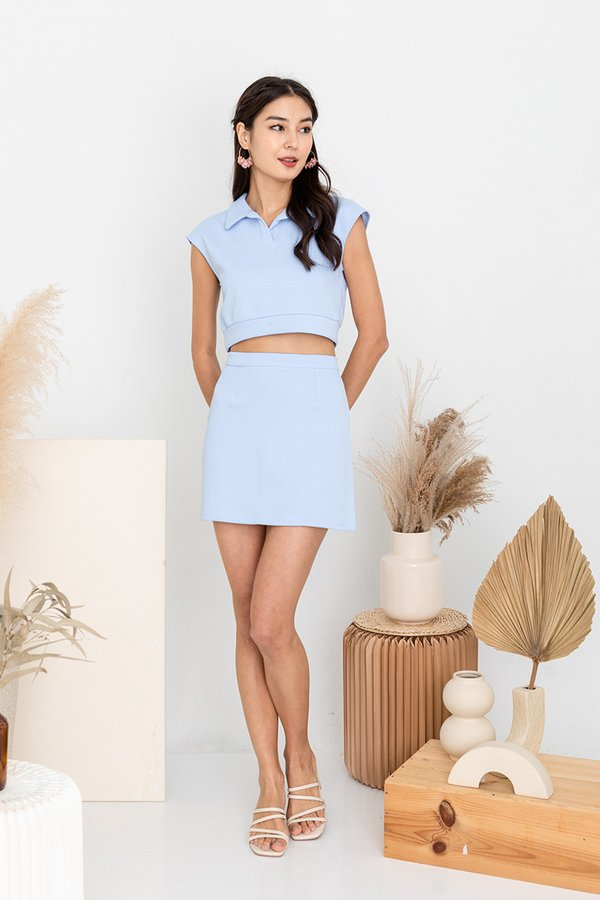 Piqued for Workout Tennis Polo Two Piece Set Blue