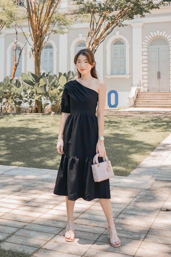 Tiers of Summer Swirls Toga Midi Dress Black