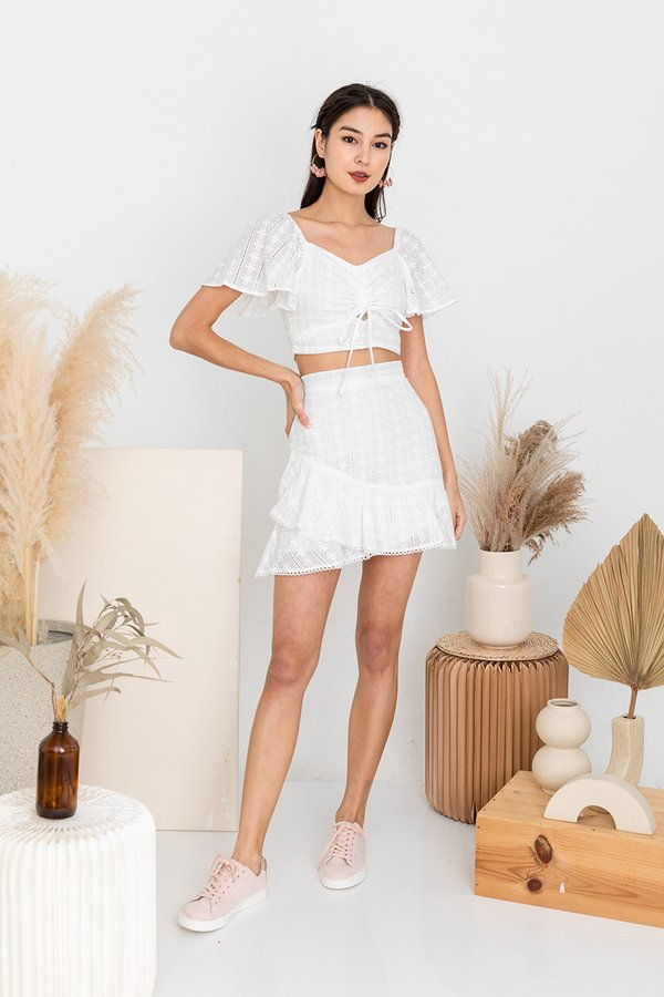 Frolicking Fabulously in Eyelets Two Piece Set White