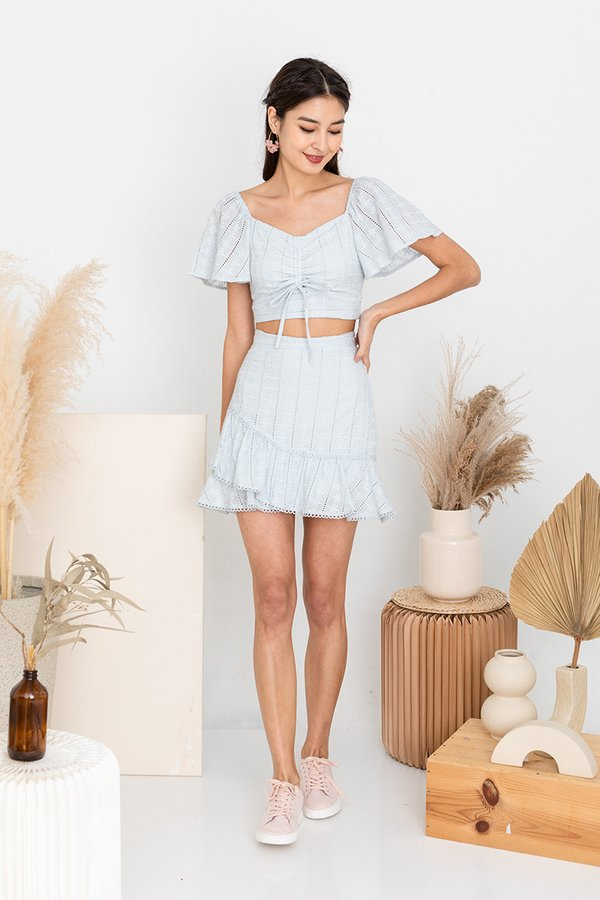 Frolicking Fabulously in Eyelets Two Piece Set Pale Blue