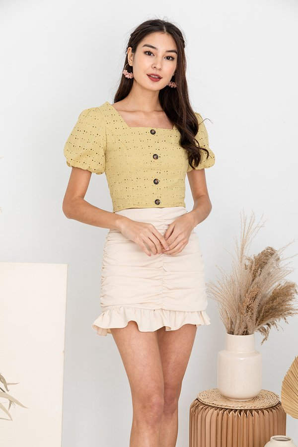 Sweet Hints of Eyelets Button Top Linden Green